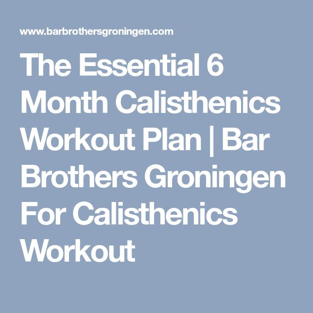 The Essential 6 Month Calisthenics Workout Plan | Bar Brothers Groningen For Calisthenics Workout