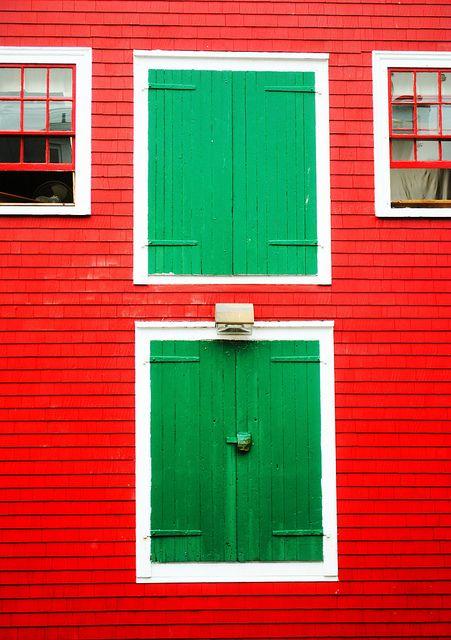 Red building green doors