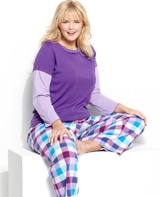 Jenni by Jennifer Moore Plus Size Pajamas, Top and Fleece Pajama Pants Set