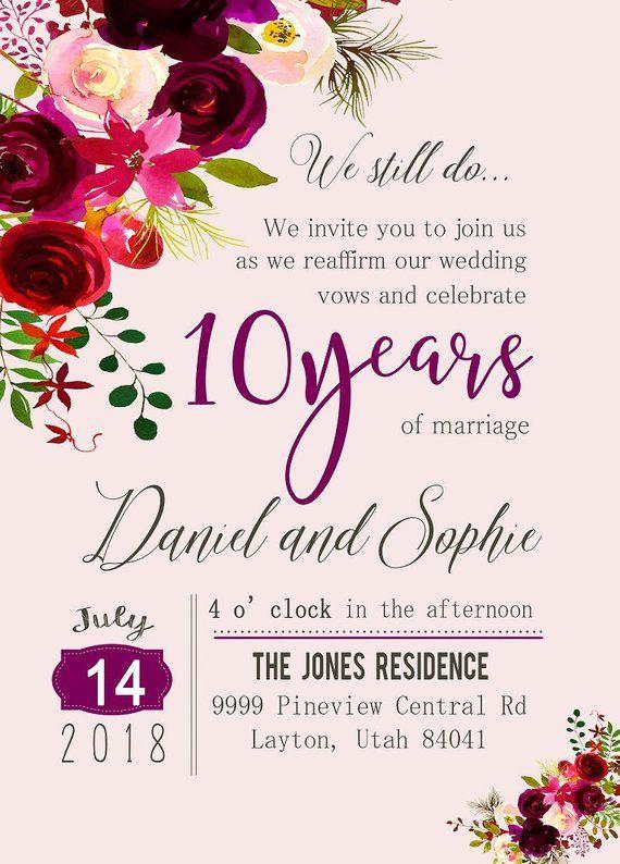 Custom Watercolor Flower 10th Year Anniversary Invitation Etsy Anniversary Invitations Wedding Anniversary Invitations Wine Invitations