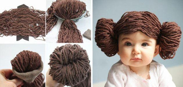 Disfraces caseros de #StarWars para niños: peluca Princesa Leia #Carnaval