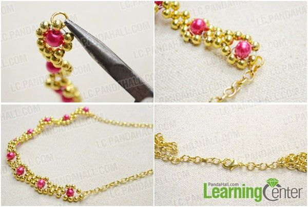 Step 3: Finish the beaded flower necklace