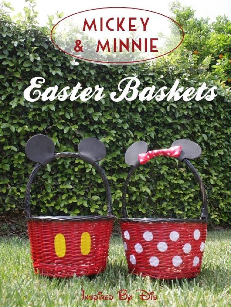 DIY Mickey and Minnie Easter Baskets - 15 Creative DIY Easter Basket Ideas   GleamItUp