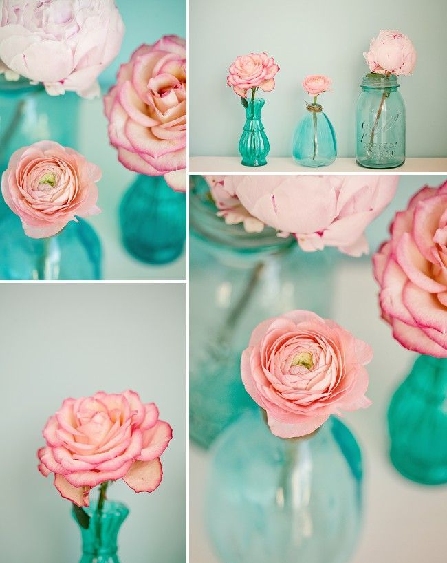 Love these vase ideas for a gorgeous, delicate bridal shower.