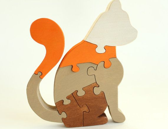Painted Cat Wooden Puzzle  Children's Game by berkshirebowls, $19.99