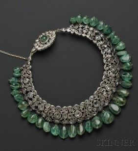 Lot:597: Antique Diamond and Emerald Bead Fringe Necklace, , Lot Number:597, Starting Bid:$10000, Auctioneer:Skinner , Auction:597: Antique Diamond and Emerald Bead Fringe Necklace, , Date:05:00 AM PT - Sep 13th, 2011