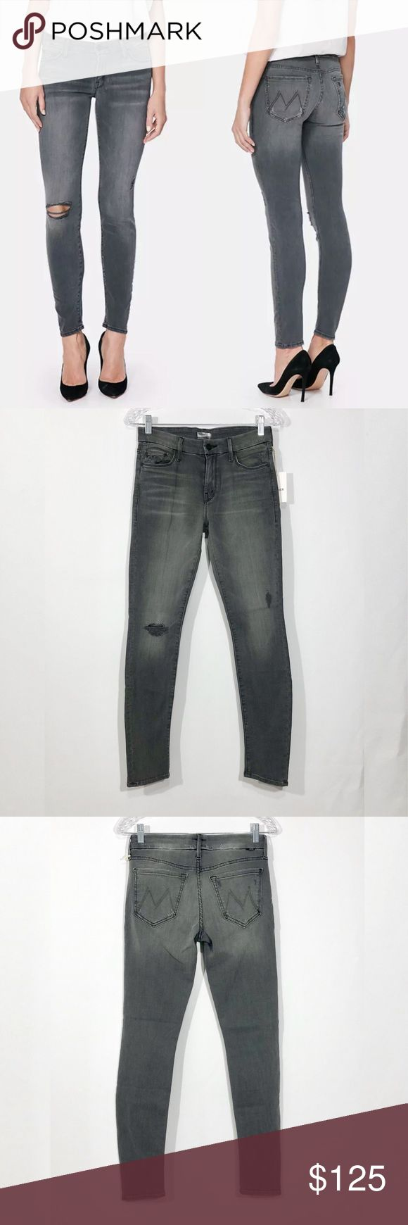 """MOTHER THE LOOKER SKINNY JEANS/LAST CHANCE SALOON Mother The Looker Jeans in Last Chance Saloon Size: 26 Condition: New with tags. MRSP: $208  Details: The looker is Mother's Classic mid rise, skinny Jeans in a form fitting silhouette guaranteed to turn head. Last Chance Saloon is a faded medium gray wash with a smooth hem and thrashed knee 98% Cotton, 2% elastane Measurements: Waist side seam to side seam:14"""" Hips side to side:16"""" Rise: 9"""" Inseam:29"""" leg opening: 10"""" MOTHER Jeans Ankle…"""