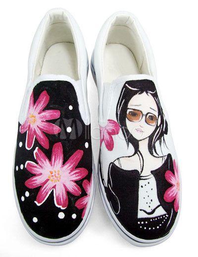 Zapatos de lona con flor y chica pintada a mano - Milanoo.com