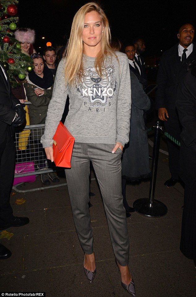 Looking great in grey! The 28-year-old Bar Refaeli opted for something a little more covered up when she headed to Lady Gaga's concert in London last week