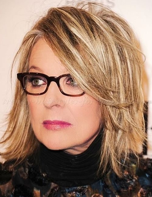 medium hairstyles over 50 - Diane Keaton layered bob hairstyle