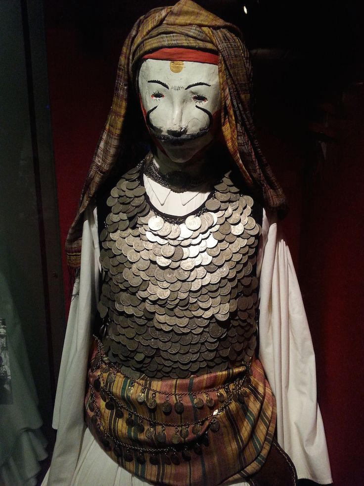 A costume of the Genitsaroi on display at the Museum of Greek Folk Musical Instruments in Athens, Greece.