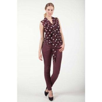 Articles broek pants oil wash bordeaux  | Fashion Exclusive