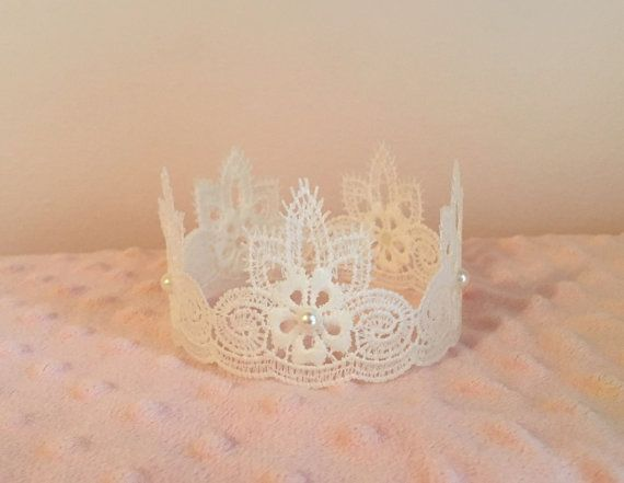 Newborn Baby Crown, Lace n Pearls Crown, Newborn Photography Prop, Hand Painted Pink or Pearl White, Baby Crown, Lace Crown