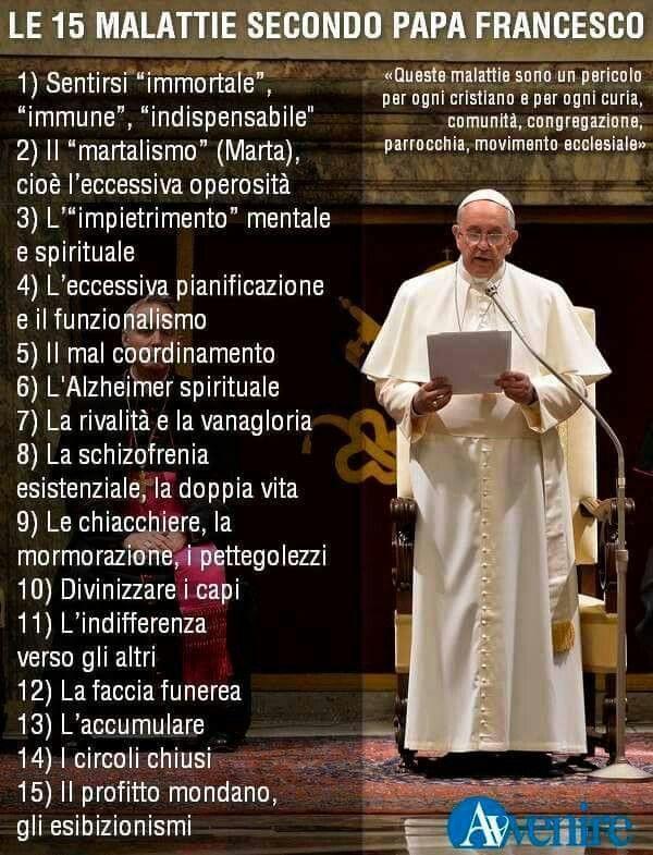 Le 15 malattie secondo Papa Francesco (fonte: Avvenire)