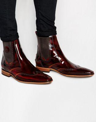 Jeffery West Leather Brogue Chelsea Boots