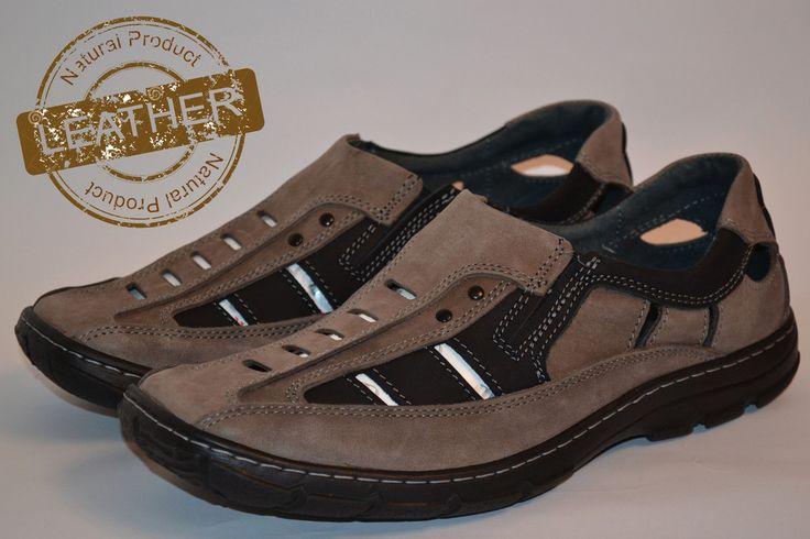 Feniks Mens Cowhide Leather Black Sandal Shoes