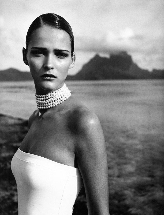 "#carmenkass - side part hairstyles - sleek glossy hairstyles - slicked back hair, red carpet hairstyles - chic #vogue #paris shot in bora bora tahiti, Credits: model: carmen kass, photo: Blaise Reutersward, hair nicolas jurnjack,  styling : caroline van der voort, makeup artist: Christine Corbel, manicurist: elsa deslandes VOGUE PARIS JUNE 1998 ""Le Sel de La Mer"""