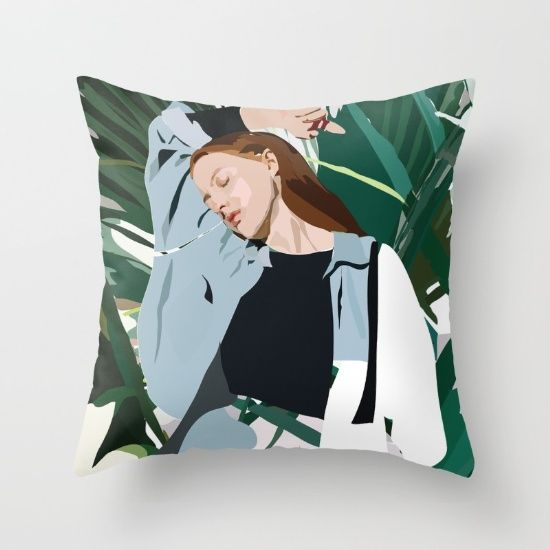 Blue (Lady) Throw Pillow by Anna McKay. Worldwide shipping available at Society6.com. Just one of millions of high quality products available.