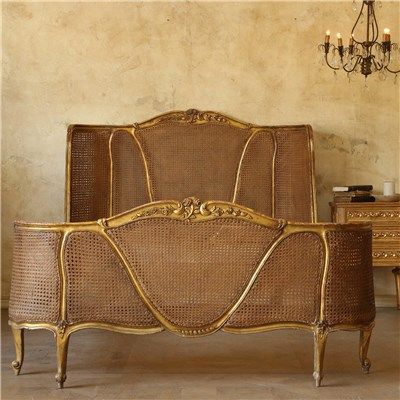 Eloquence one of a kind vintage bed louis xv worn gilt for One of a kind beds