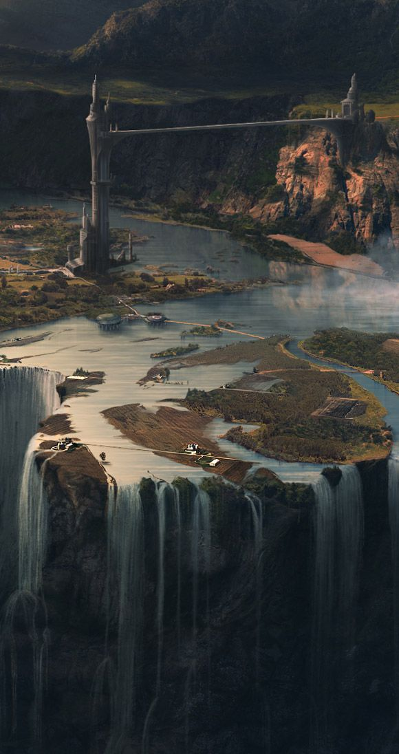 Akkiko's idea of the world. castles, mile-long stone bridges, water falling down the end of the world. Forests with beasts in it.(Mickaël Forrett's matte painting for Horizon)