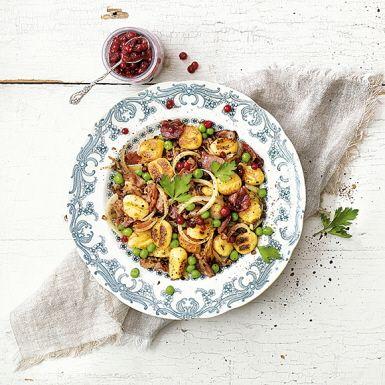 Recept: Stekt gnocchi med bacon och kryddpeppar