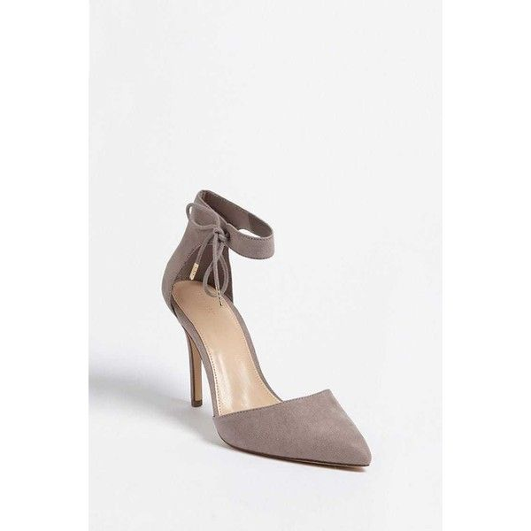 Forever21 Faux Suede Ankle-Strap Heels ($25) ❤ liked on Polyvore featuring shoes, pumps, grey, gray high heel shoes, high heel shoes, grey pumps, forever 21 pumps and grey high heel shoes