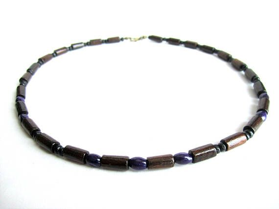 Men wood bead necklace mens brown purple wooden necklace