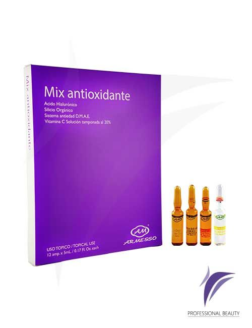 Mix Antioxidante Caja x12 ampolletas de 5ml: Mix Antioxidante. Novedosa presentación en kit de 4 referencias de productos Ácido Hialurónico / Silicio Orgánico / Sistema Antiedad DMAE / Vitamina C indicado para tratamientos de hidratación, nutrición y reafirmación facial que le permite al profesional utilizarlo de acuerdo a las patologías de cada paciente.