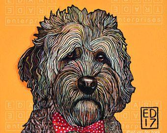 """227 crumpet - perro de agua Portugués-imprimir 14x14cm/5.5x5.5 """""""