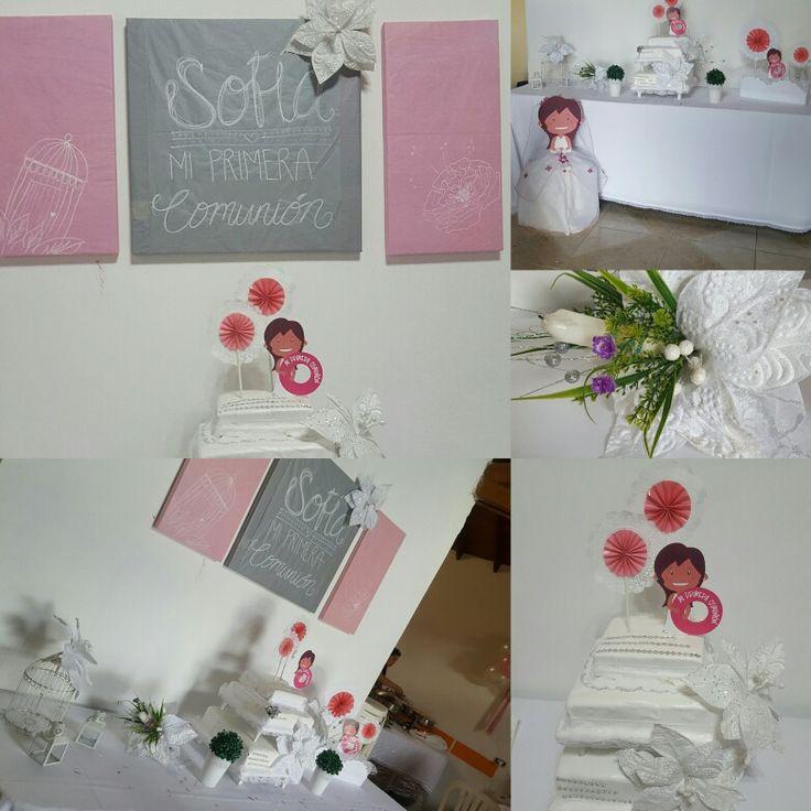 Plateado, rosa y blanco los colores escogidos para ambientar esta celebración en un hermoso lugar. Personalización de la festejada recreada en cada centro de mesa y la piñata.