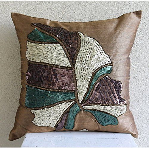 Designer Gold Brown Pillows Cover, Sequins Leaves Pillows... https://www.amazon.com/dp/B016H8X0YG/ref=cm_sw_r_pi_dp_x_s8k-ybFEGCK07