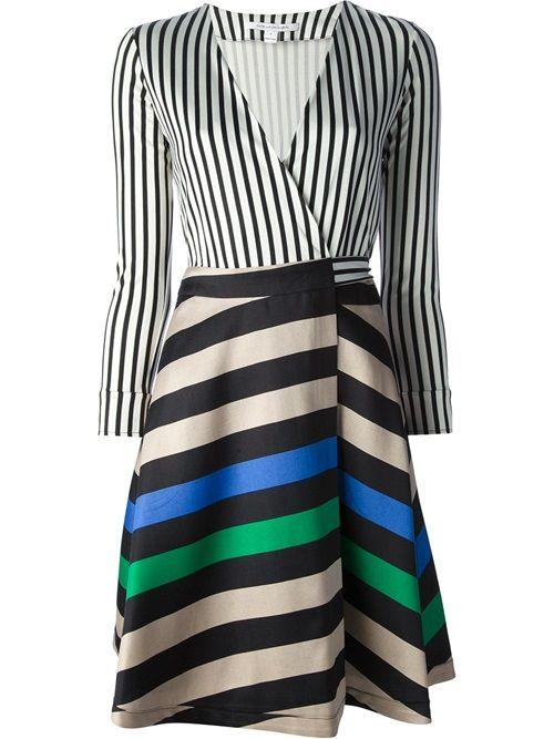 - Diane Von Furstenberg Contrast Stripe Wrap Dress - Dolci Trame #dvf #dianevonfurstenberg #ameliadress #dress #wrapdress #newin #ss14 #ootd #fashion #editorpick #dolcitrame