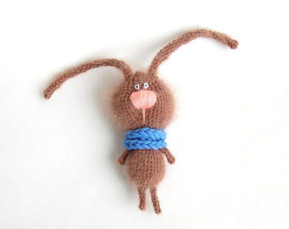 Crochet soft toy Brown Bunny stuffed animal for kids