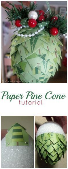 How to make Paper Pine Cones tutorial. These are great for handmade Christmas ornaments, gift toppers, and garlands!