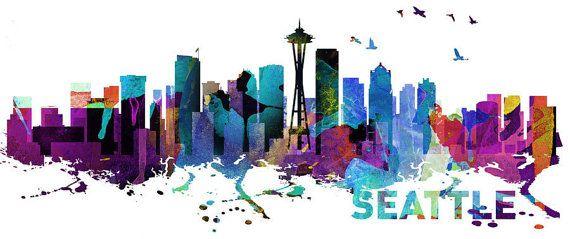 Horizonte de Seattle Stampa Acquerello por homeartstickers