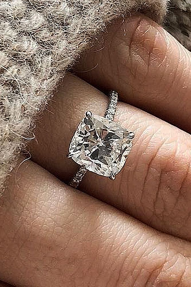 27 Brilliant Cushion Cut Engagement Rings ❤️ cushion cut engagement rings solitaire pave band white gold ❤️ See more: http://www.weddingforward.com/cushion-cut-engagement-rings/ #weddingforward #wedding #bride