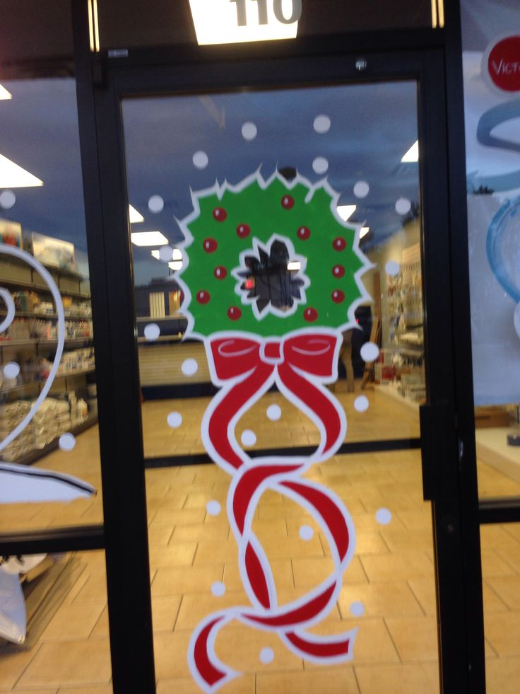 Paint A Wreath On Your Door Window Painting Christmas