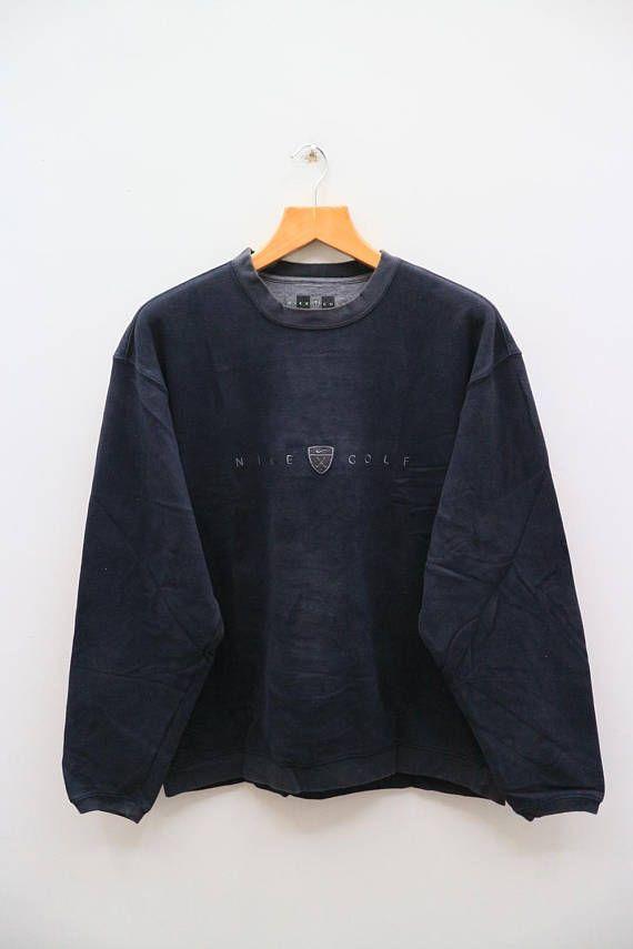 Vintage Nike Golf Small Logo Streetwear Black Pullover Sweatshirt Sweater Size L Black Pullover Sweatshirts Golf Sportswear Vintage Nike