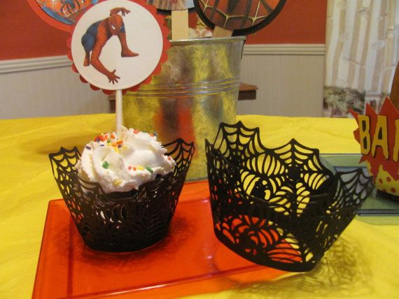 Super Hero Cupcake Wrappers for the Spiderman or by FavorMeDesigns, $8.00