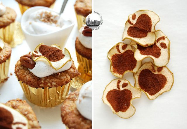 Apple-cinnamon-pecan cupcakes, served with apple chips!