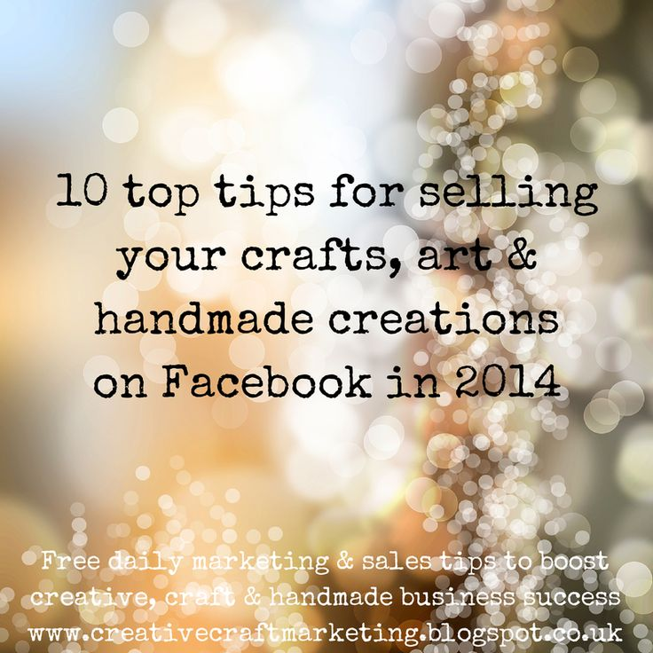 How to use Facebook for selling your craft, creative or handmade business products   Modern marketing theory focuses on relationship building (ie how can I help?) rather than persistent sales messages (ie buy me! buy me!) so what does that mean for the way you promote your business?  http://www.creativecraftmarketing.blogspot.co.uk/2014/07/how-to-use-facebook-for-selling-your.html