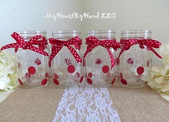 Red Polka Dot Mason Jar Centerpieces Baby Shower By MyHeartByHand