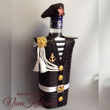 Подарочное оформление бутылок ручной работы. Ярмарка Мастеров - ручная работа. Купить Морской пехотинец. Чехол на бутылку. Подарок мужчине. Handmade.
