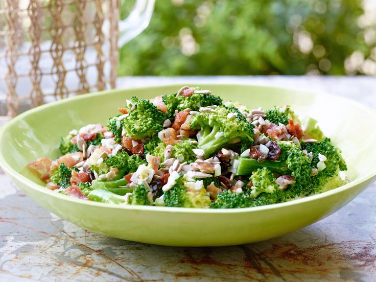 Broccoli Salad : Trisha packs a ton of flavors and textures into this one salad. Coating the broccoli in a mayonnaise-vinegar mixture allows the diced bacon, onion, raisins and sunflower seeds to adhere, so you get a bit of salt, crunch and sweetness in every bite. via Food Network