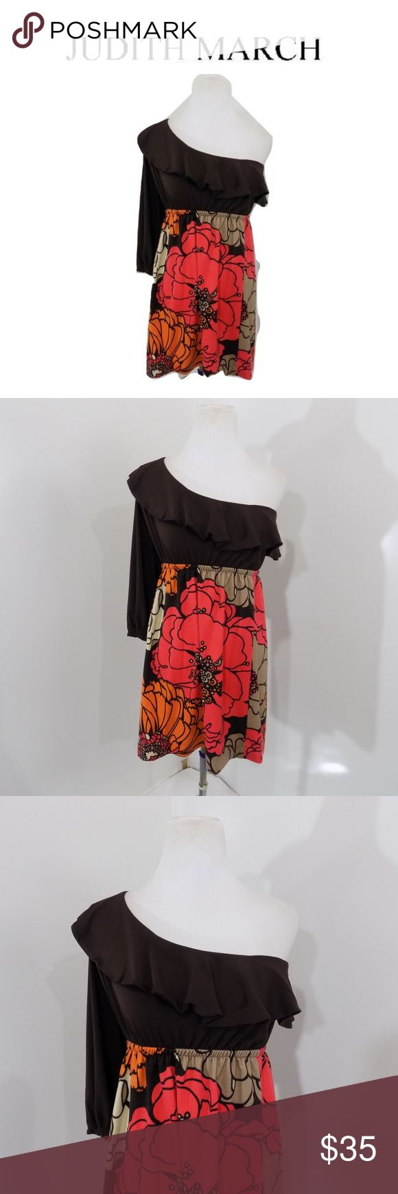 Judith March L Dress One Shoulder Stretch Knit Super cute.  One shoulder design.  Stretch Knit.  By Judith March.  Solid Top / floral skirt.    Brand:  Judith March.    Color:  Multi-Color   Tag Size:    Misses  Large.    Bust:  38 in.    Waist: 32 in.    Hips:  40 in.    Sleeve Length:  23 in.    Length:  32 in.    Materials:  Polyester.    Care Instructions:  Machine wash, line dry. Judith March Dresses One Shoulder