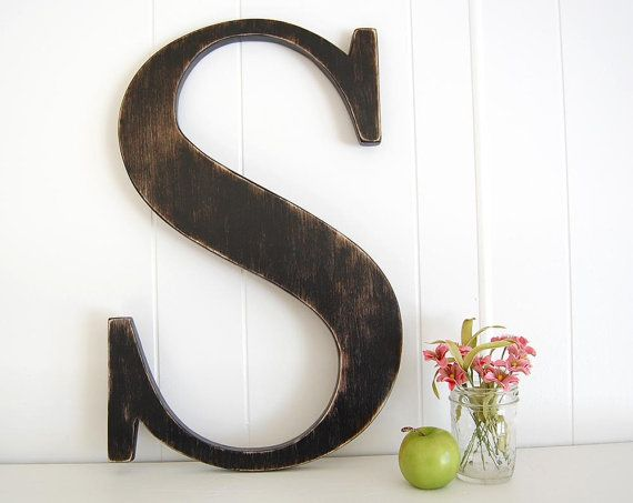 large wall letter s cottage rustic farmhouse 22 tall you choose letter and color large wooden lettersbig