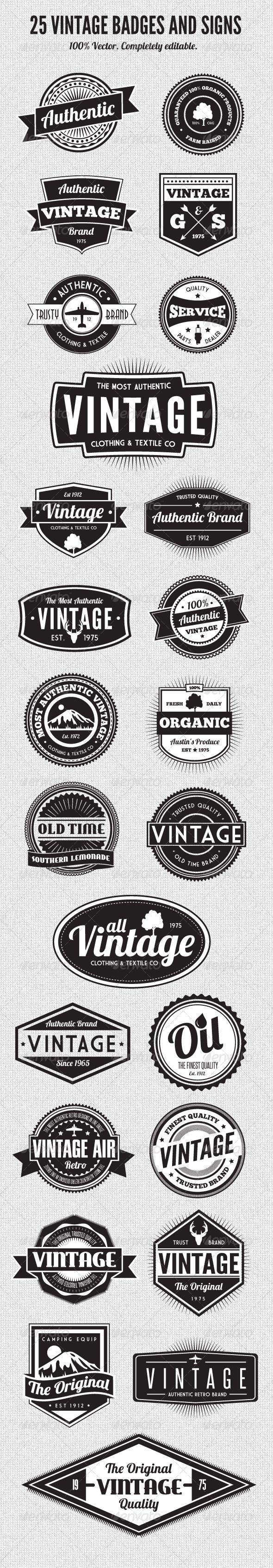 Camp T-shirt design inspiration 25 Premium Retro Style Vector Badges: