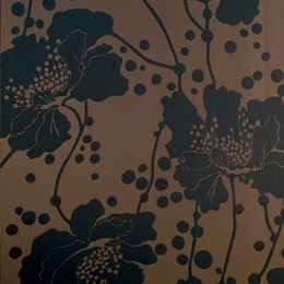 Florence Broadhurst - Gunmetal Pearl Spotted Floral Wallpaper