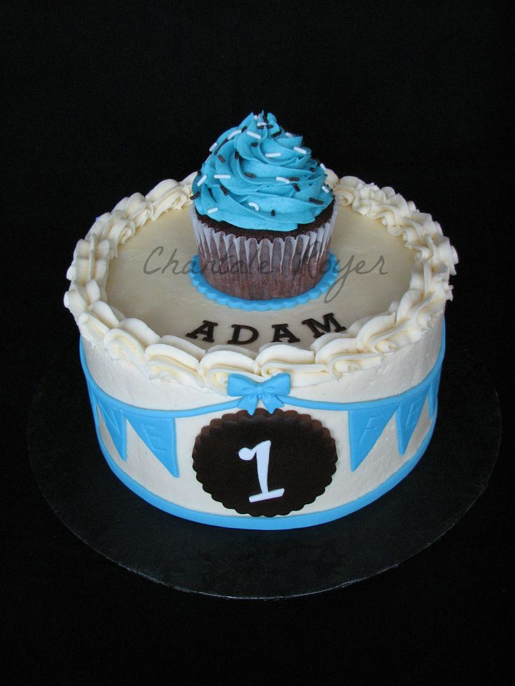 Cake Boy First Year Birthday Cupcake Topper G Teau Anniversaire F Te Gars Gar On 1 Un An Cake