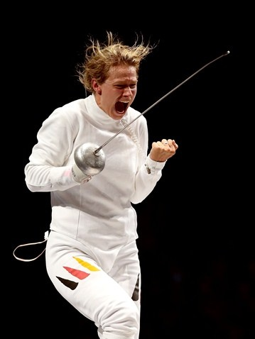 Britta Heidemann of Germany celebrates defeating Shin A Lam of Republic of Korea during the women's Epee Individual Fencing semi-finals on Day 3 of the London 2012 Olympic Games at ExCeL.